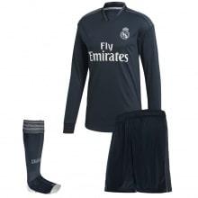 Детская гостевая форма Реал Мадрид 18-19 c длинными рукавами