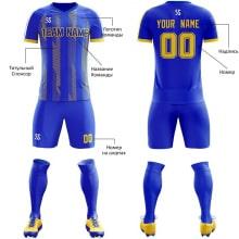 Футбольная форма сине желтая косые линии на заказ