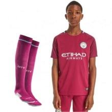 Детская гостевая форма Манчестер Сити 2017-2018 футболка, шорты и гетры
