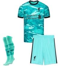 Детская гостевая футбольная форма Салах 2020-2021 футболка шорты и гетры