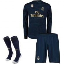 Взрослая гостевая форма Реал Мадрид 19-20 c длинными рукавами футболка шорты и гетры