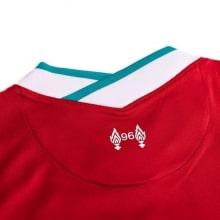 Детская домашняя футбольная форма Салах 2020-2021 футболка воротник сзади