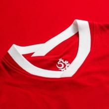 Гостевой комплект детской формы Польши на ЕВРО 2020-21 футболка воротник Левандовски