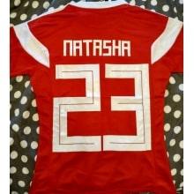 Женская домашняя футболка сборной России на ЧМ 2018 с нанесением фамилии и номера