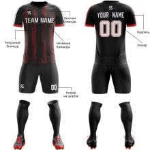 Футбольная форма черно красного цвета косые линии на заказ