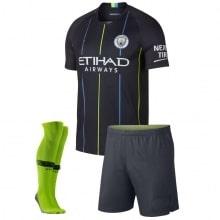 Детская гостевая футбольная форма Габриэль Жезус 2018-2019 футболка шорты и гетры спереди