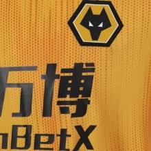 Домашняя игровая футболка Вулверхэмптона 2019-2020 герб клуба