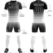 Футбольная форма черно белого цвета Острые волны на заказ