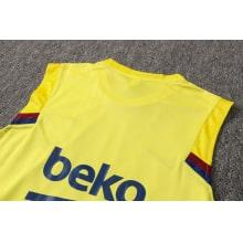 Желто-синяя тренировочная форма Барселоны 2021-2022 футболка сзади