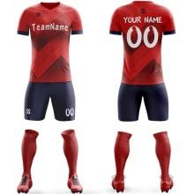 Футбольная форма красно синего цвета ЗигЗаг на заказ