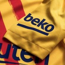 Комплект детской четвертой формы Барселоны 2019-2020 футболка рукав