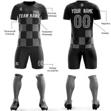 Футбольная форма черно серого цвета Квадраты на заказ