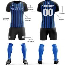 Футбольная форма черно синего цвета полосатая на заказ