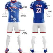 Футбольная форма бело сине красного цвета пиксели на заказ