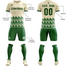 Футбольная форма зелено бежевого цвета Острые волны на заказ