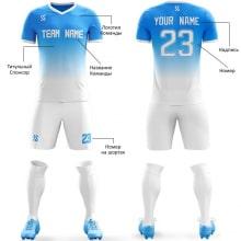 Футбольная форма бело синего цвета Градиент на заказ