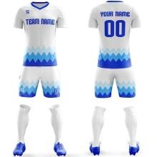 Футбольная форма бело синего цвета Острые волны на заказ