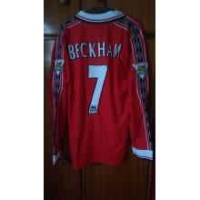 Домашняя футболка Ман Ю с длинными рукавами 1998-1999 Бэкхэм