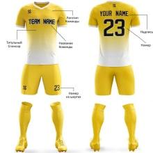 Футбольная форма желто белого цвета Градиент на заказ