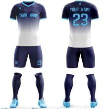 Футбольная форма сине белого цвета Градиент на заказ