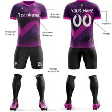 Футбольная форма черно фиолетового цвета ЗигЗаг на заказ