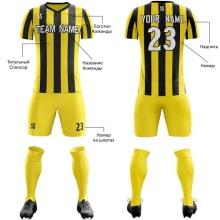 Футбольная форма желто черного цвета в Полоску на заказ