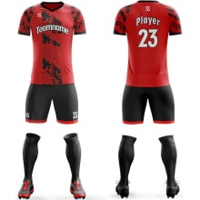 Футбольная форма черно красного цвета пиксели на заказ
