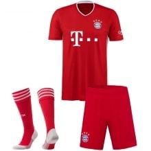 Комплект детской домашней формы Баварии 2020-2021 Левандовски футболка шорты и тетры