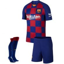 Детская домашняя футбольная форма Месси 2019-2020 футболка шорты и гетры спереди