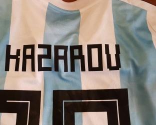 Форма Аргентины с нанесенеим Фамилии ЧМ 2018