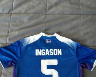 Домашняя игровая футболка сборной Исландии по футболу на чемпионат мира 2018 года сзади