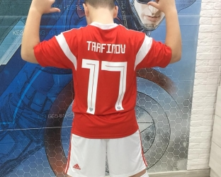 Детский комплект домашней футбольной формы сборной России по футболу на чемпионат мира 2018 года