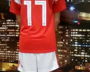 Детский комплект домашней футбольной формы сборной России по футболу на чемпионат мира 2018 года футболка, шорты и гетры